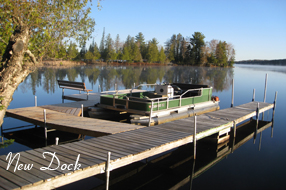 Image of the New Dock by the Executive Home at Angler's Isle Northwoods Resort.
